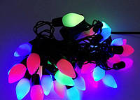 Гирлянда новогодняя свеча на черном проводе 28 ламп мультицветная 4 метра