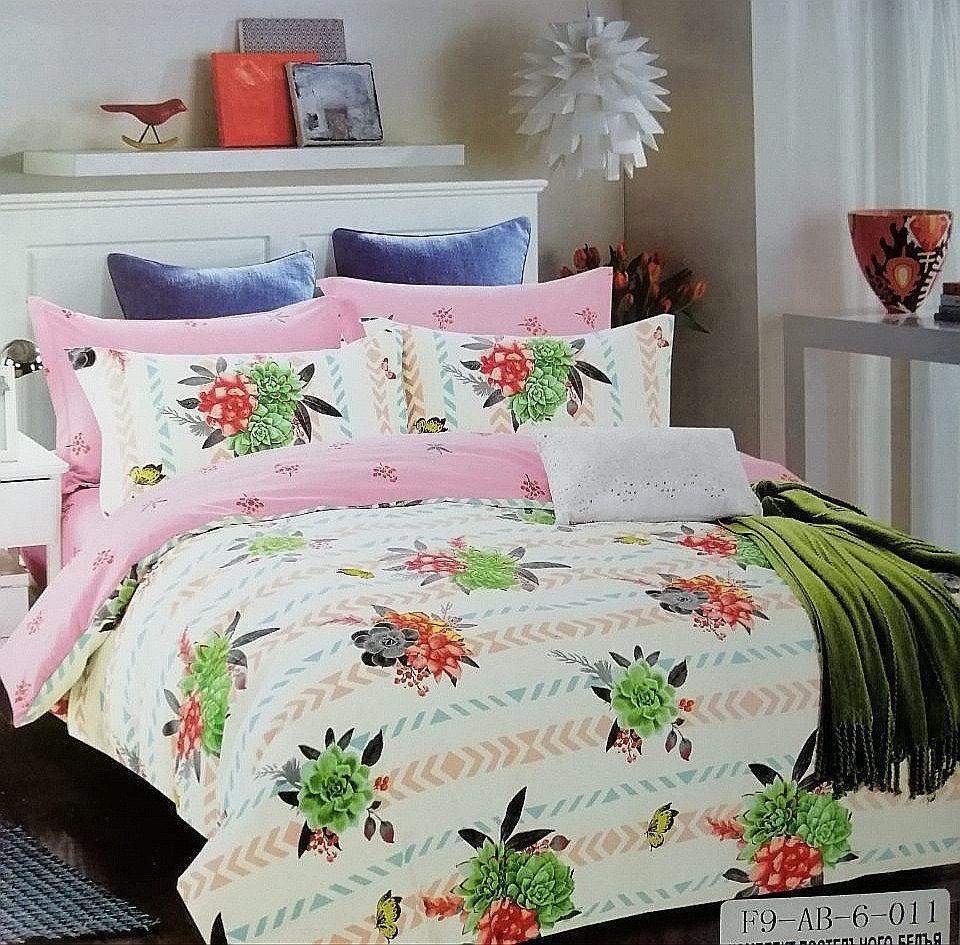 Комплект постельного белья  двуспальный Евро (4 наволочки) Сатин белый с розовымзеленый с серым