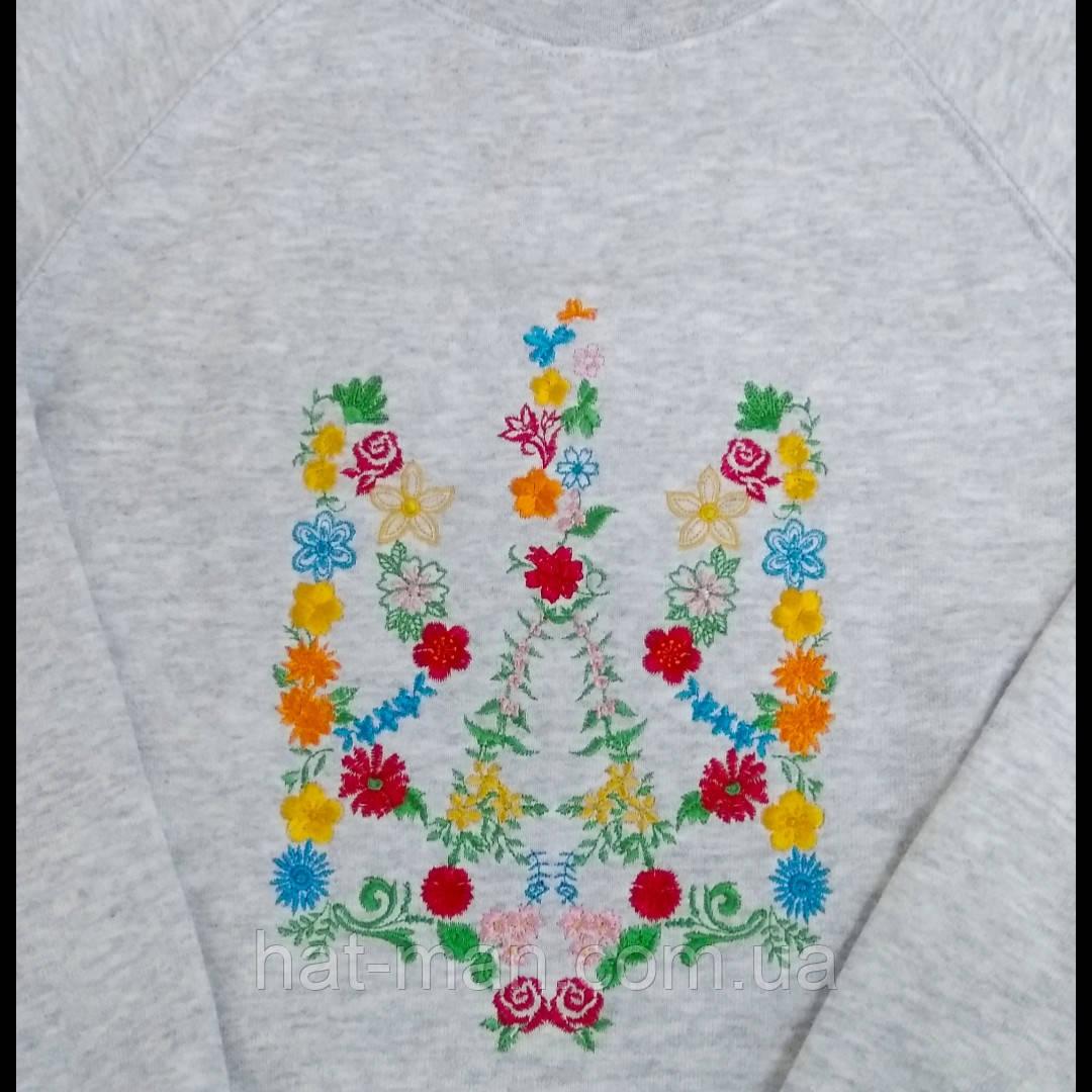 Світшот з вишивкою квітучого тризуба