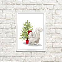 Постер в рамке а4 Кот в новогодней шапке (WMT4_20NG009)