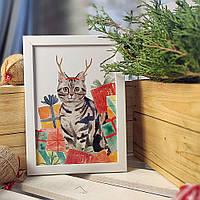 Постер в рамке а4 Новогодний котик (WMT4_20NG007)