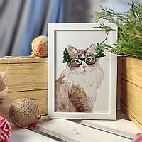 Постер в рамке а5 Кот в новогодних очках (WMT5_20NG008)