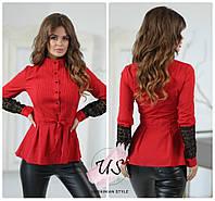 Трикотажная женская блузка с кружевом и баской. 3 цвета!, фото 1