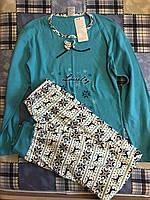 Женская пижама (кофта и штаны). 44-46р. Бирюзовая, фото 1