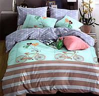 Комплект постельного белья  двуспальный Евро (4 наволочки) Сатин бирюзовый с голубым