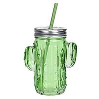 Банка для напитков с соломинкой Кактус, зеленая (IMP_7_GREEN)