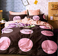 Комплект постельного белья  двуспальный Евро (4 наволочки) Сатин коричневый с розовым