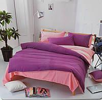 Комплект постельного белья  двуспальный Евро (4 наволочки) Сатин фиолетовый с розовымеленый с серым