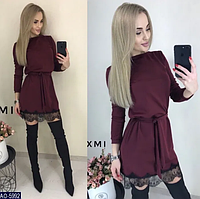 Женское осеннее платье с кружевом и поясом. Стильное платье от производителя. Дешеве плаття від виробника