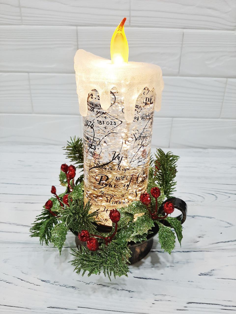 """Новогодний декоративный фонарь """"Горящая свеча"""" с LED подсветкой, 24 см"""