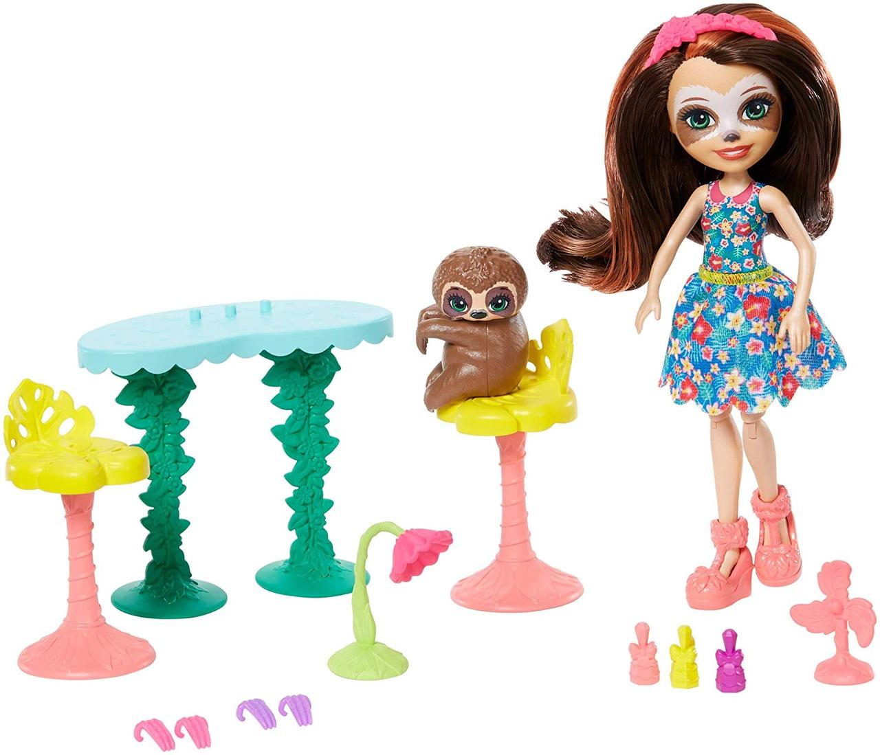 Enchantimals Салон красоты ленивец Сэла Ленни и Трибоди GFN54 Slow-Down Salon Sela Sloth Doll