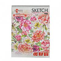 """Альбом для акварели Santi """"Floristics"""",A4 """"Paper Watercolour Collection"""" 10 листов 742602"""