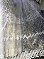 Тюль в 4 ряда вышивки для кухни, спальни на основе фатиновой сетки №8080 Цвет: Белый