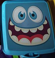 Ланчбокс двойной с вилкой и ложкой Турция 021175 Hobbi контейнер, ланч бокс с приборами, голубой, фото 1
