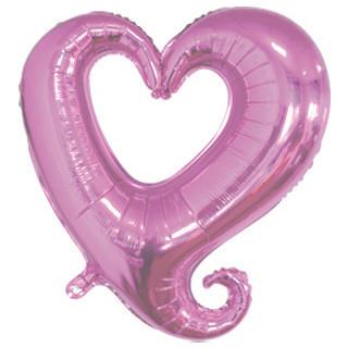 """Фол шар фигура 18"""" (45 см) Сердце Металлик Розовое ВЕНЗЕЛЬ (Китай)"""