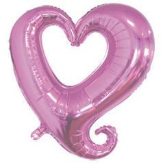 """Фол шар 18"""" (45 см) Цепь сердец / Вензель розовый (Китай)"""