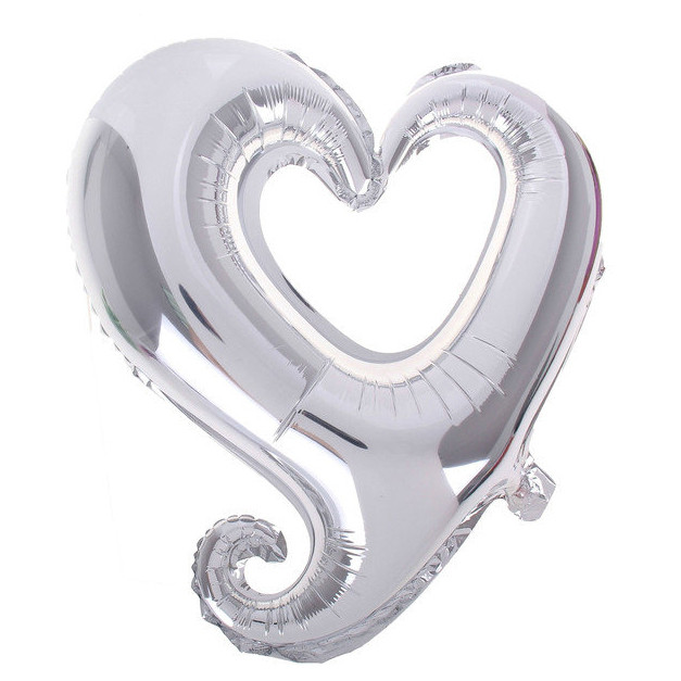 "Фол шар фигура 18"" (45 см) Сердце Металлик Серебро ВЕНЗЕЛЬ (Китай)"