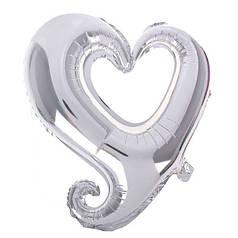 """Фол шар 18"""" (45 см) Цепь сердец / Вензель серебро (Китай)"""