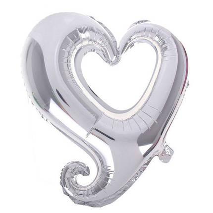 "Фол шар фигура 18"" (45 см) Сердце Металлик Серебро ВЕНЗЕЛЬ (Китай), фото 2"