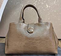 Женская сумка стильная бежевая вместительная (Турция).