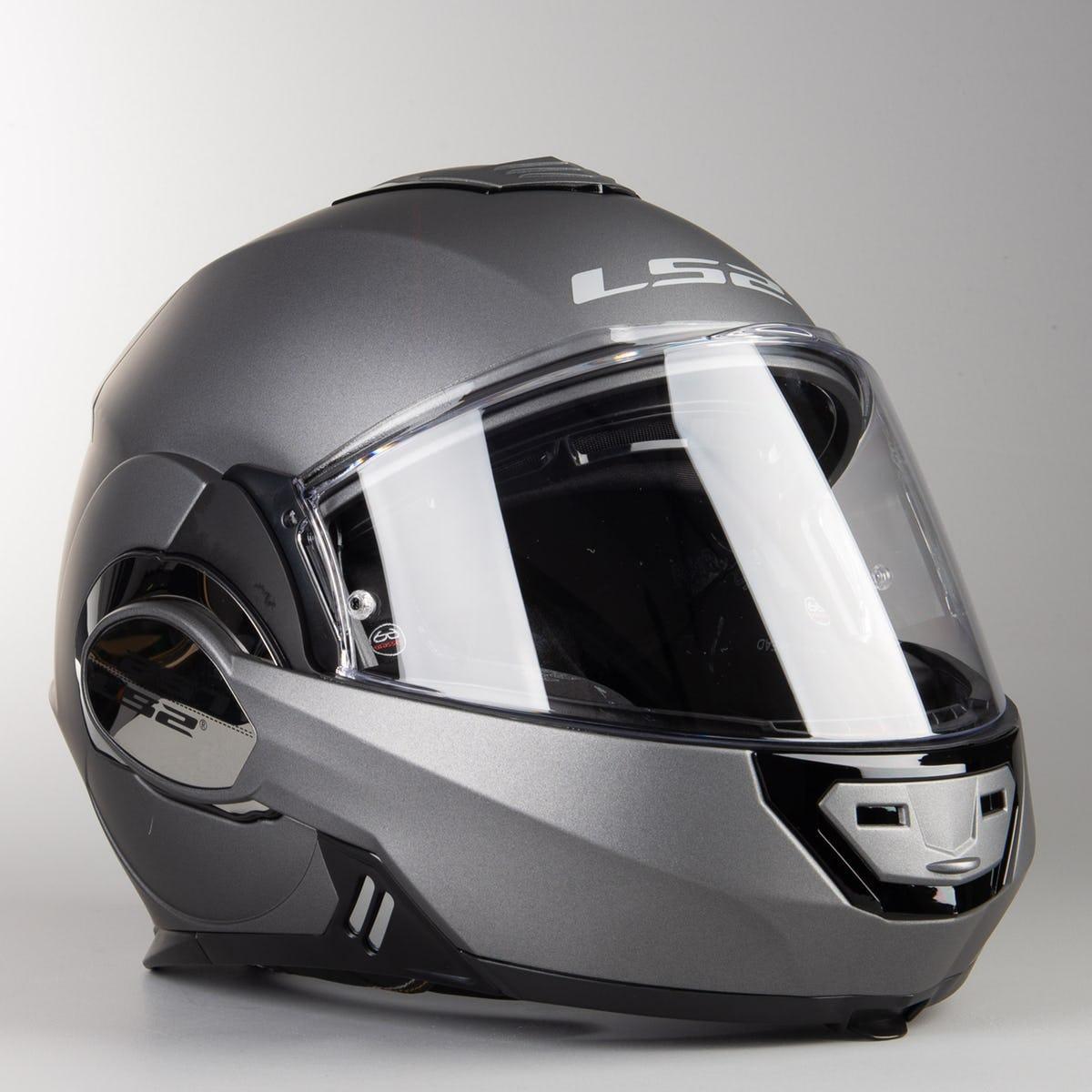 Шлем модуляр LS2 FF399 Valiant  Flip-Up Helmet Matte Titanium Мат ТИТАН + PINLOCK в Подарок