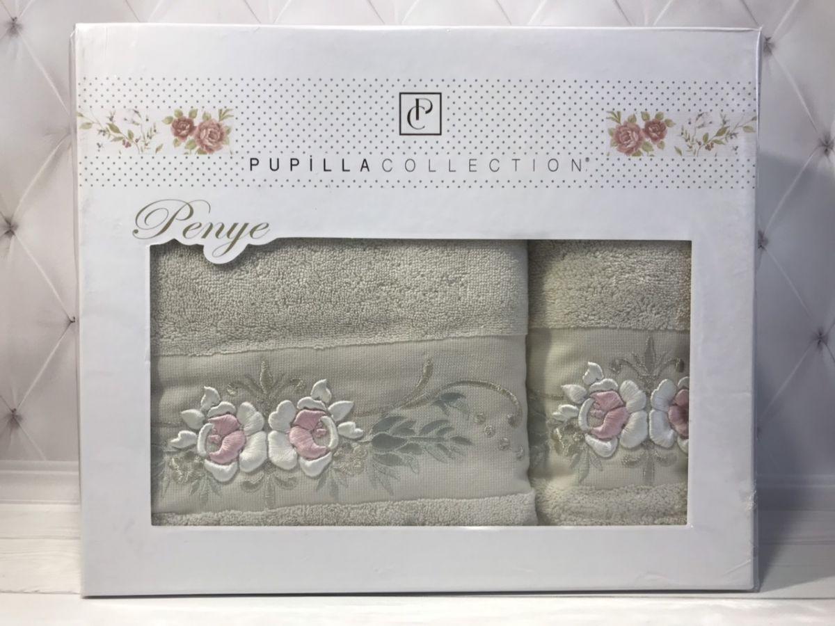Набор полотенец Pupilla Eva Трикотаж 3D, 2в1 (1 баня, 1 лицо). Розочки