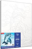 """Набір-стандарт, картина за номерами, """"Дельфіни"""", 35х45см, ROSA START"""
