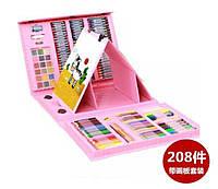 Набор для рисования в чемоданчике с мольбертом 208 предметов творчество краски