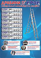 Лестница КРОК 3х7 (4,25 м) Алюминиевая, 3 Секции, 7 ступеней, фото 2