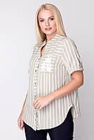 Женская рубашка офисная элегантная больших размеров 50, 52, 54, 58, 60 р оливковый цвет