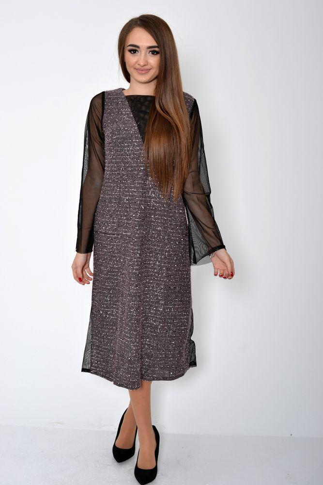 Платье женское 115R354C цвет Розово-коричневый
