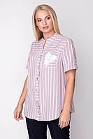 Женская рубашка офисная элегантная больших размеров 50, 52, 60 р розового цвета