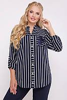 Женская рубашка офисная элегантная больших размеров 50 р темно-синего цвета