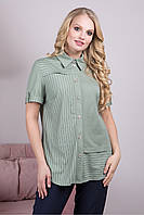 Женская рубашка офисная элегантная больших размеров 56 р оливкового цвета