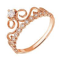 Золотое кольцо Узорная корона с белым цирконием 000071580 17 размер