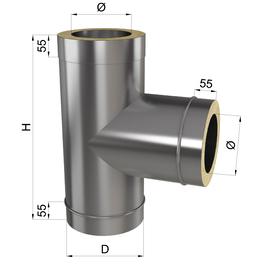 Тройник дымоходный 90° нерж\оц 0,8 мм 180/250мм