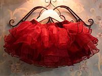 Юбка красная многослойная