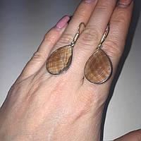 Элегантные серьги раух топаз дымчатый кварц. Серьги капли с раухтопазом в серебре Индия