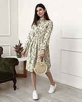 Вельветовое платье классическое с рукавами на резинке и пуговичками, Молочный (966)