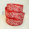 Атласная лента 4 см с оранментом, красный