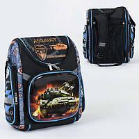 Рюкзак школьный каркасный с 1 отделением и 3 карманами, спинка ортопедическая - 186136