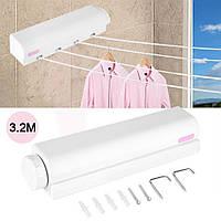 Автоматическая вытяжная настенная сушилка для белья, бельевая веревка (4 шнура по 3,2 метра) (2875)