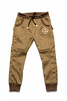 Брюки для мальчика джинсового типа 03-00572 Модный карапуз хаки 98