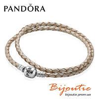 Кожаный белый браслет Pandora №590705CPL-D серебро 925 проба оригинал