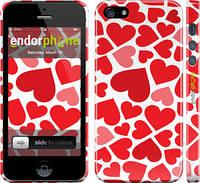 "Чехол на iPhone 5 Красные сердца ""721c-18"""