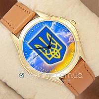 Часы мужские наручные с принтом Украина Герб и Небо Gold/Brown