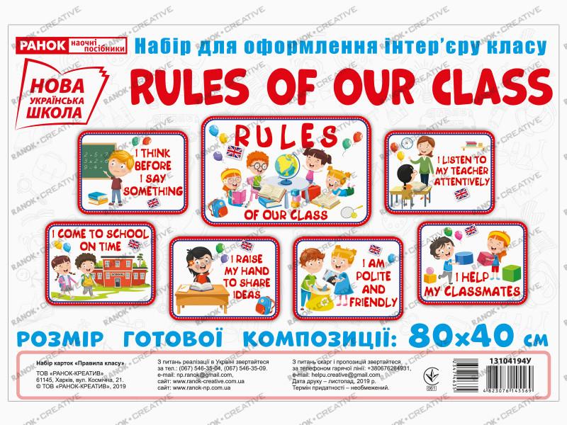 НУШ. Набір для оформлення інтер'єру класу: Правила нашого класу (англійською)