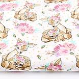 """Лоскут ткани """"Косули с цветочными веночками"""" коричневые на белом (№2227), размер 49*80 см., фото 2"""