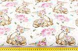 """Лоскут ткани """"Косули с цветочными веночками"""" коричневые на белом (№2227), размер 49*80 см., фото 4"""