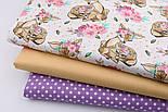 """Лоскут ткани """"Косули с цветочными веночками"""" коричневые на белом (№2227), размер 49*80 см., фото 5"""